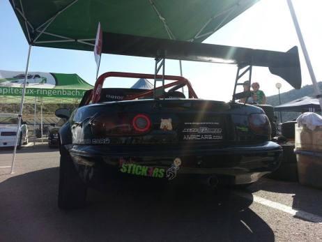 Rear viem of mazda mx5 miata rotary engine swap